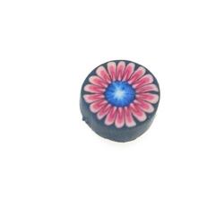 Fimokraal, rond, bloem, blauw/roze, 10 mm (streng)