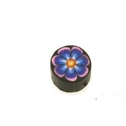 Fimokraal, rond, bloem, blauw/zwart, 10 mm (streng)