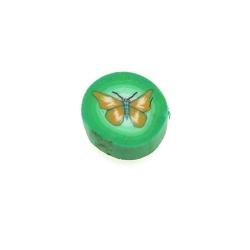 Fimokraal, rond, vlinder, groen, 10 mm (streng)