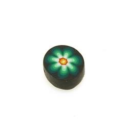 Fimokraal, rond, bloemetje, zwart/groen, 10 mm (streng)