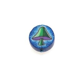 Fimokraal, rond, paddestoel, blauw/groen, 10 mm (streng)