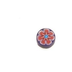 Fimokraal, rond, bloem, paars, 8 mm (streng)