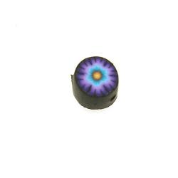 Fimokraal, rond, bloem, zwart/paars, 8 mm (streng)