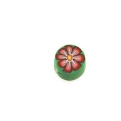 Fimokraal, rond, bloem, groen/roze, 8 mm (streng)