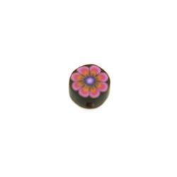 Fimokraal, rond, bloem, zwart/roze, 8 mm (streng)