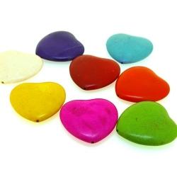 Gekleurd Turquoise kraal, hart, mix, 40 mm (5 st.)