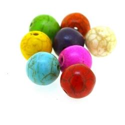 Gekleurd Turquoise kraal, rond, mix, 10 mm (ca. 21 st.)