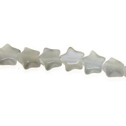 Catseye kraal ster grijs 7 mm (streng)