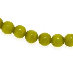 Catseye kraal rond groen 6 mm (streng)