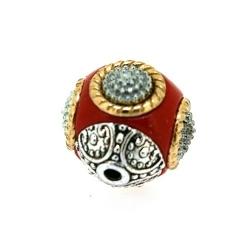 Kashmiri kraal, rond, rood, 16 mm (5 st.)