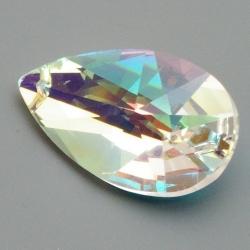 Geslepen glashanger, druppel, Crystal AB, 37 x 22 mm (1 st.)