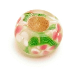 Glaskraal, rond, groot gat, l.groen met roze bloemetjes (5 st.)