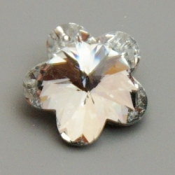 Geslepen glashanger, bloem, Crystal Black, 22 mm (1 st.)
