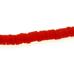 Fimokraal, schijfje, rood, 1 x 4 mm (streng)
