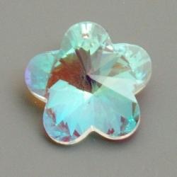 Geslepen glashanger, bloem, Crystal AB, 22 mm (1 st.)