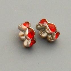 Metaal, rondelle met strass, rood, 8 mm (6 st.)