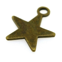 Metaal, bedel, ster, antique goud, 24 mm (10 st.)