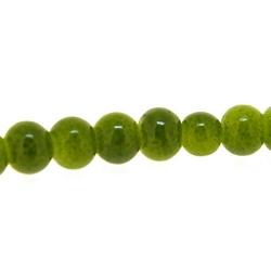Gekleurd steen kraal, rond, legergroen, 4 mm (streng)