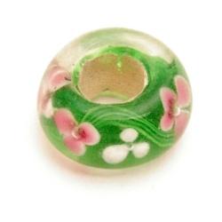 Glaskraal, rond, groot gat, d.groen met roze bloemetjes (5 st.)
