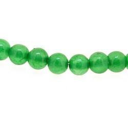 Gekleurd steen kraal, rond, groen, 6 mm (streng)