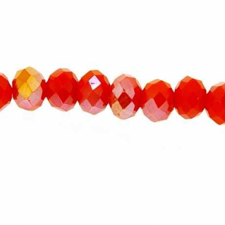Glaskraal, donut met facetten, oranje, AB, 3 x 4 mm (1 streng)