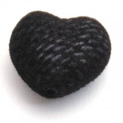 Velours kraal, hart, zwart, 24 mm (3 st.)