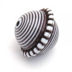 Kunststof kraal rond disc zwart/wit 20x23 mm (3 st.)