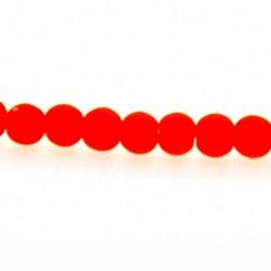 Glaskraal, rond, neon oranje, mat, 4 mm (streng)