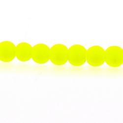 Glaskraal, rond, neon geel, mat, 4 mm (streng)