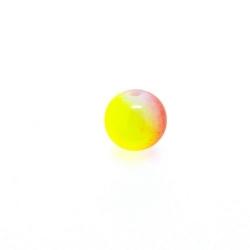 Glaskraal, rond, duotone, rood/geel, 8 mm (streng)