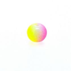 Glaskraal, rond, duotone, roze/geel, 8 mm (streng)