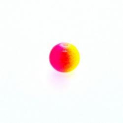 Glaskraal, rond, duotone, neongeel/neonroze, 8 mm (streng)