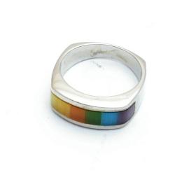 Ring, echt zilver, regenboog, maat 17 (1 st.)