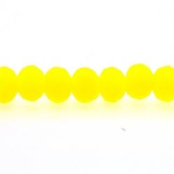 Glaskraal, donut met facetten, neon geel, mat, 12 x 8 mm (streng)