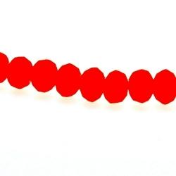 Glaskraal, donut met facetten, neon oranje, mat, 12 x 8 mm (streng)