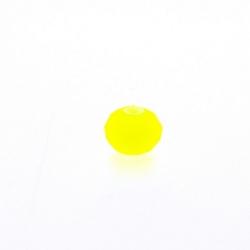 Glaskraal, donut met facetten, neon geel, mat, 4 x 7 mm (streng)