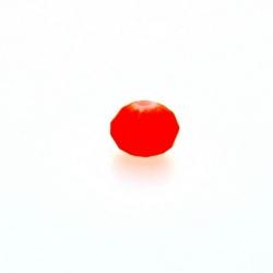 Glaskraal, donut met facetten, neon oranje, mat, 4 x 7 mm (streng)