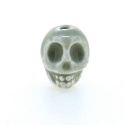 Keramiek kraal, skull, grijs, 14 mm (5 st.)