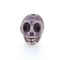 Keramiek kraal, skull, lila, 14 mm (5 st.)