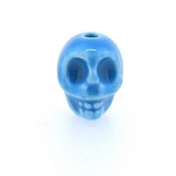 Keramiek kraal, skull, turquoise, 14 mm (5 st.)