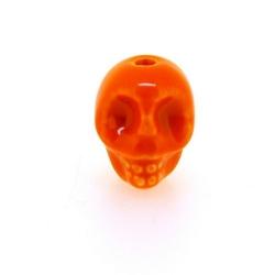 Keramiek kraal, skull, oranje, 14 mm (5 st.)