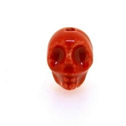 Keramiek kraal, skull, rood, 14 mm (5 st.)