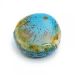 Keramiek kraal, rond, turquoise/groen gemeleerd, 20 mm (3 st.)