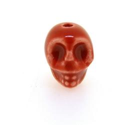 Keramiek kraal, skull, oudroze, 14 mm (5 st.)