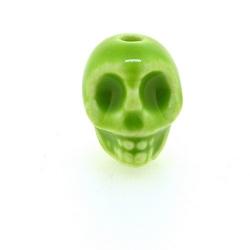 Keramiek kraal, skull, groen, 14 mm (5 st.)
