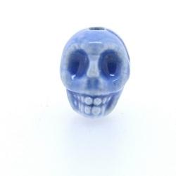 Keramiek kraal, skull, jeansblauw, 14 mm (5 st.)