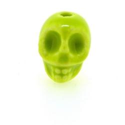 Keramiek kraal, skull, limegroen, 14 mm (5 st.)
