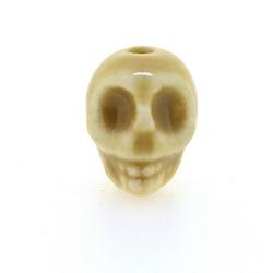 Keramiek kraal, skull, beige, 14 mm (5 st.)
