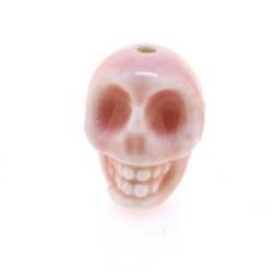 Keramiek kraal, skull, roze, 14 mm (5 st.)