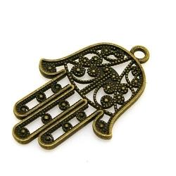 Metaal, bedel, handje, Fatima, antique goud, 42 mm (3 st.)